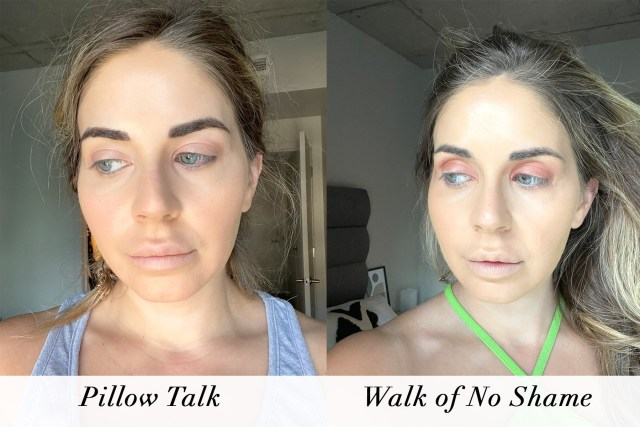 Charlotte Tilbury Eyes to Mesmerize in Pillow Talk and Walk of No Shame swatches