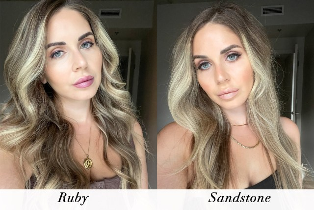 Swatches of Mary Kay Sparkle lipsticks in Ruby and Sandstone