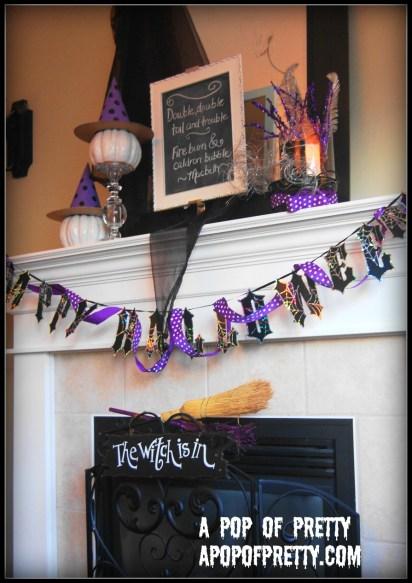 Halloween Mantel Decor - purple, black and white