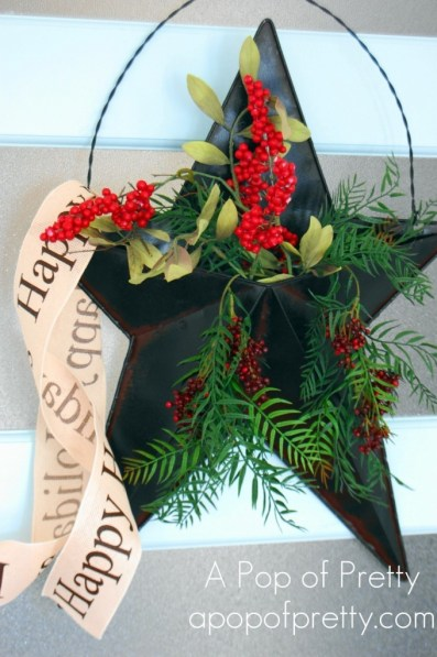 Christmas Door Decor Rustic Star Filled With Berries