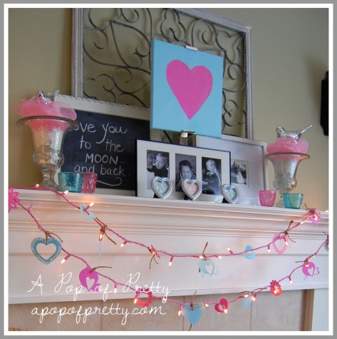 Love you to the moon and back Valentines Day mantel
