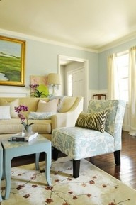 Saturday's Swoon: Serene blue, cream living room with a pop of personality!