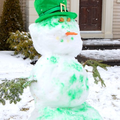 Celebrating with a Green Snowman (St. Patrick's Day)