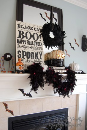 Decorated Halloween Mantel