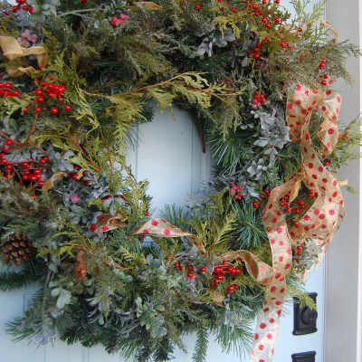 Traditional Christmas Wreath Makeover {The look of real greenery}