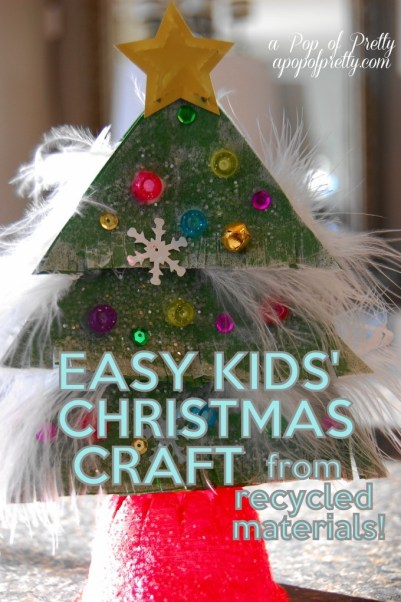 Christmas craft ideas for kids sparkly christmas tree for Christmas crafts from recycled materials