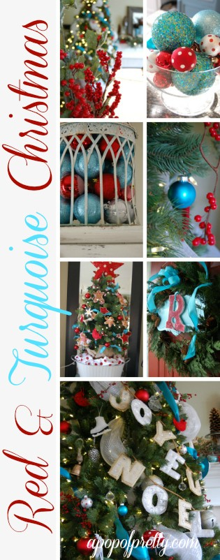 Turquoise Christmas Tree.Red Turquoise Christmas Decor My 2011 House Tour A Pop Of