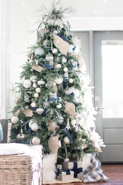 navy blue and silver tree cottage style