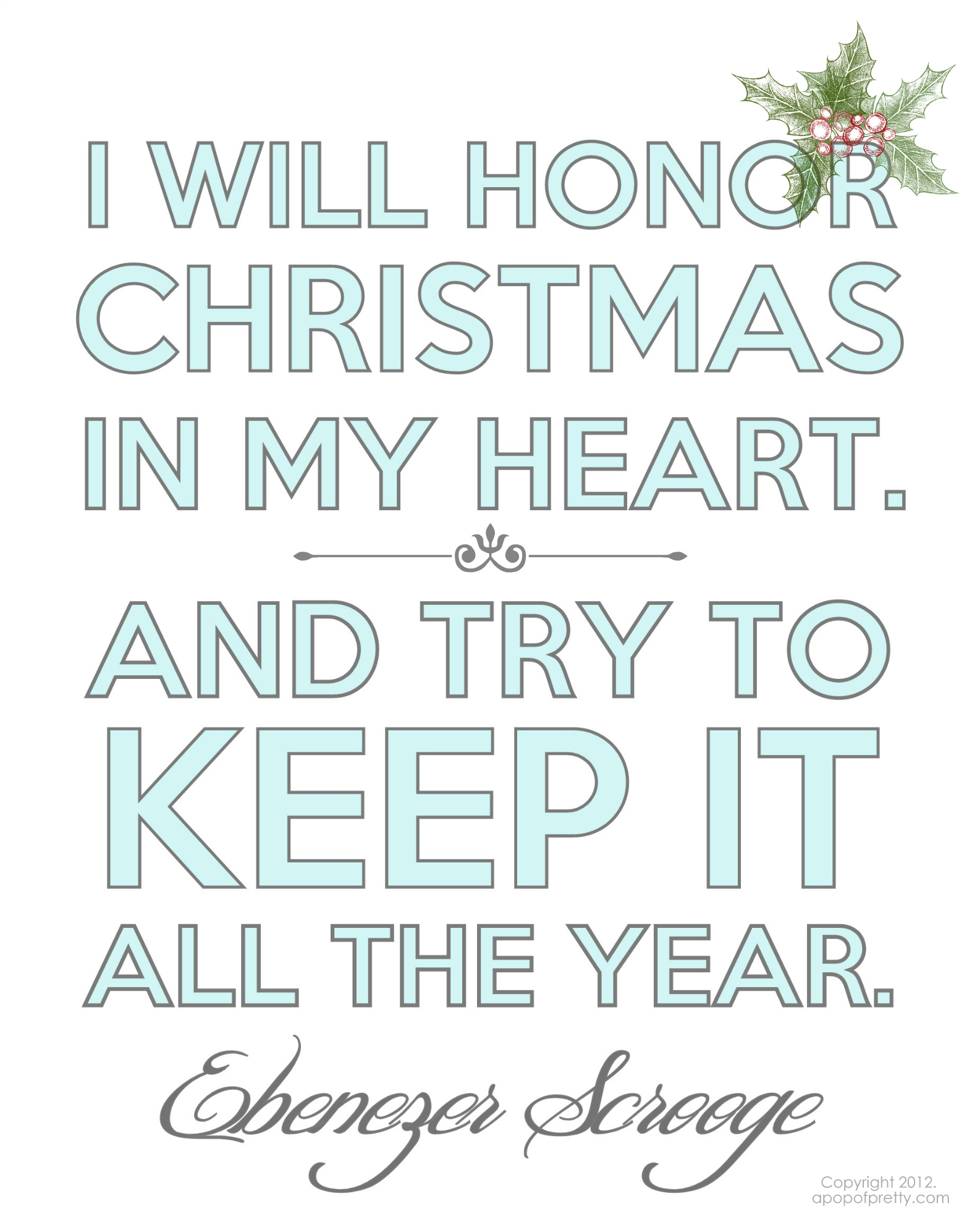 Free Christmas Printable - Scrooge - A Pop of Pretty Blog (Canadian ...