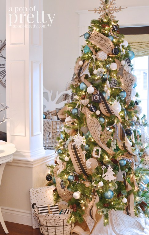 French inspired tree with burlap