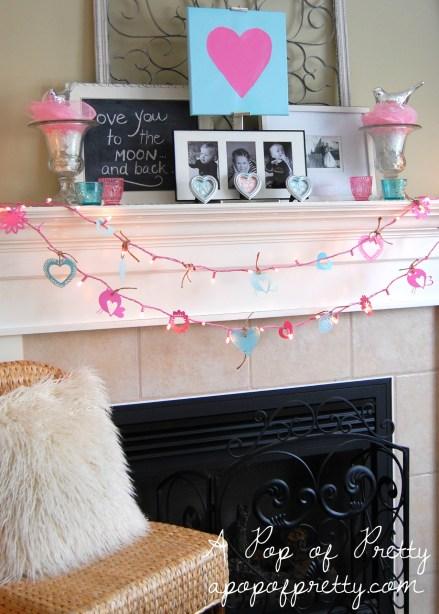 Mantel Decorating Idea Valentines Day