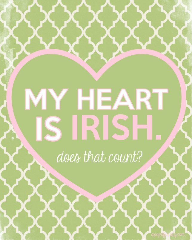 St Patricks Day Printable - my heart is Irish