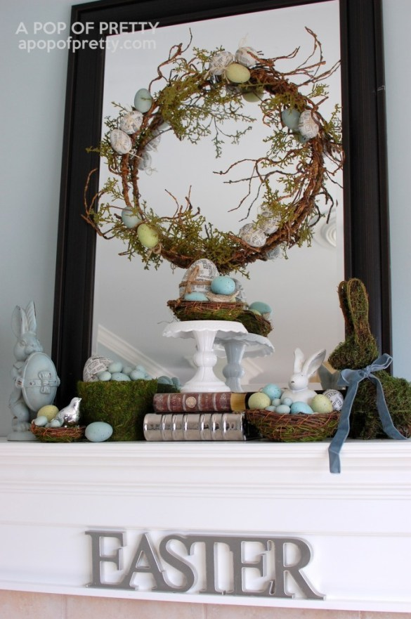 Easter decorating ideas mossy bunny easter mantel a pop for Decorating blogs canada