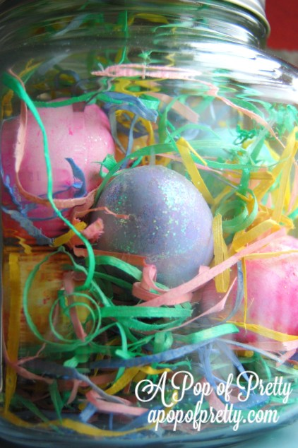 Dyed Easter eggs in mason jar