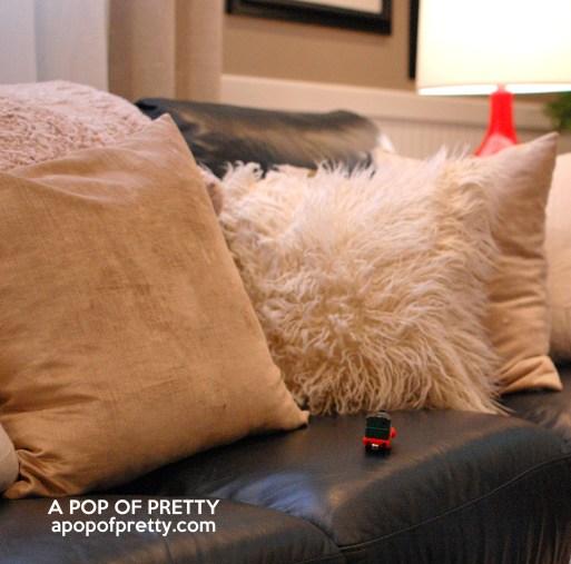 basement decorating ideas - mohair toss cushion
