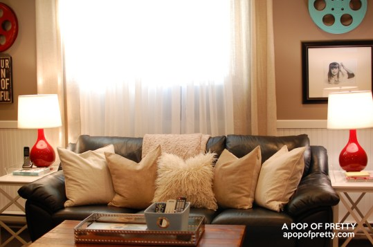 basement decorating ideas - toss cushions