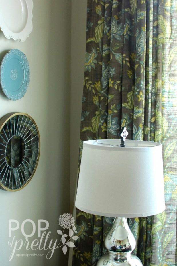 blue brown green drapes