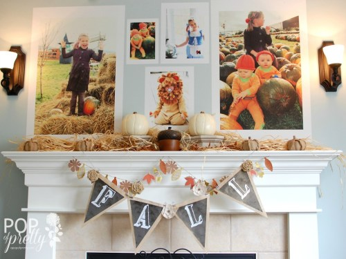 Family photo fall themed mantle ideas