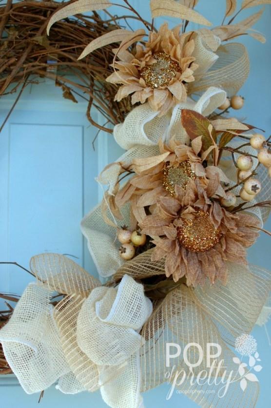 DIY Fall Wreath with burlap ribbon