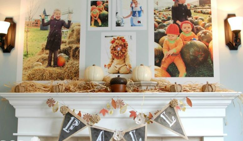 Fall Mantel Decor with Giant Fall Photos!