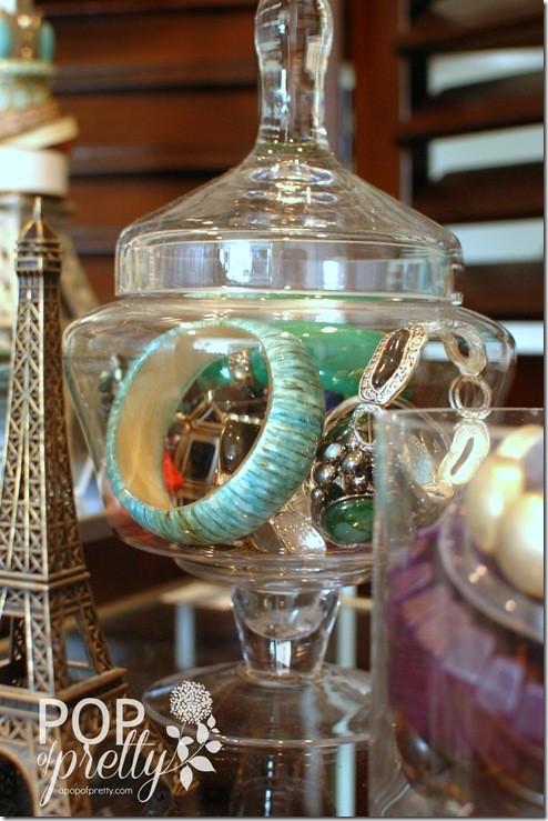 jewellery organization - apothecary jar