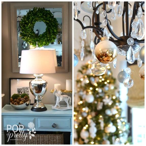 Gold and white Christmas decor - kitchen