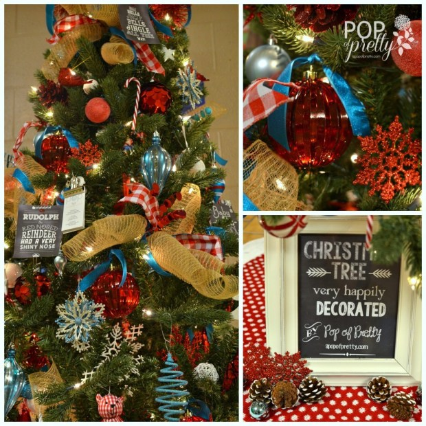 red and turquoise christmas tree decor