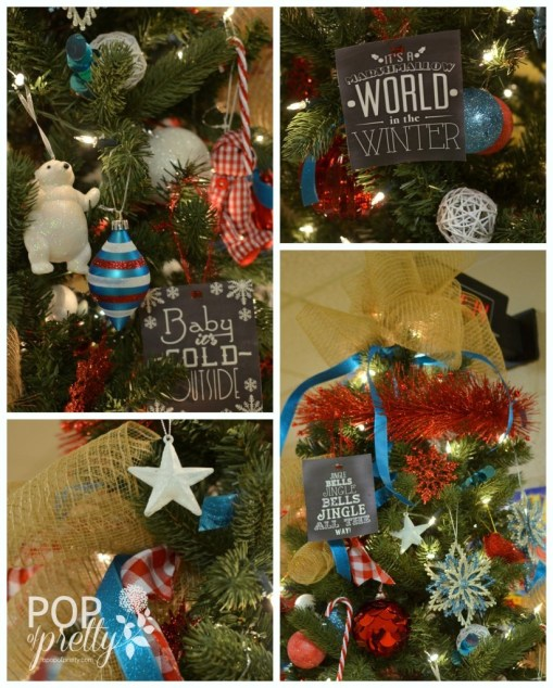 Red & Turquoise Fundraiser Tree {Christmas Tree Decorating