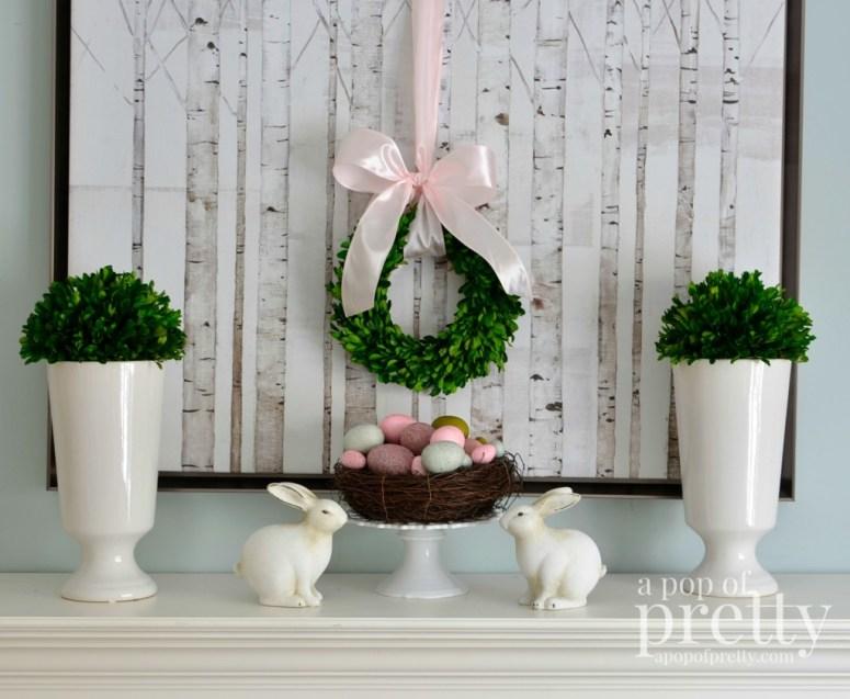 Easter decorating Easter mantel 2014