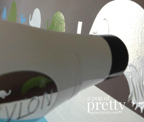 remove vinyl wall decals hairdryer