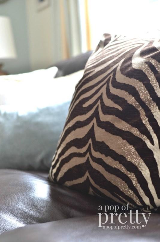 Canadian Bloggers Home Tour - a pop of pretty - zebra pillow