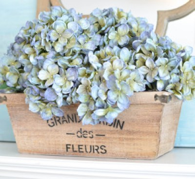 Decorating a mantel that lasts all year - hydrangeas