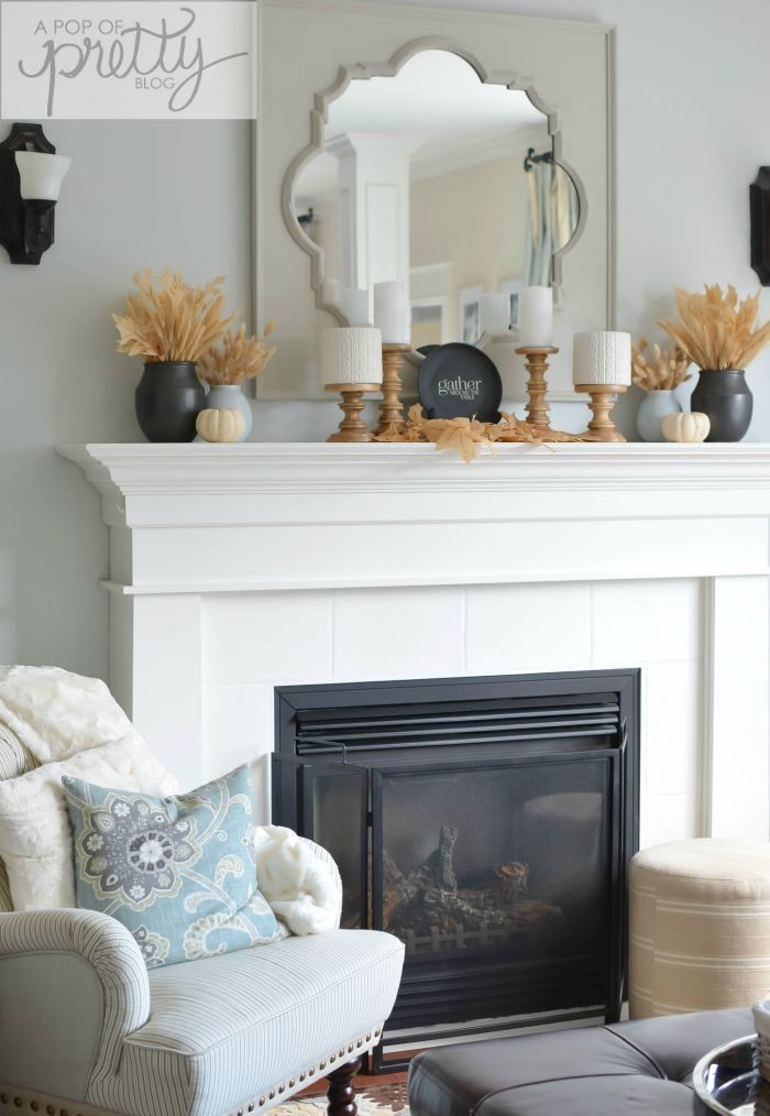 Canadian Bloggers Home Tours - Fall Mantel Decor (A Pop of Pretty Blog)