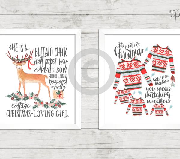 Christmas Printable Cottage Christmas Girl + Matching Sweaters