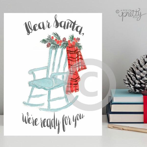 Christmas Printable - Dear Santa (Watercolour Rocking Chair)