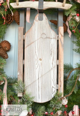 cottage Christmas wreath rustic sled