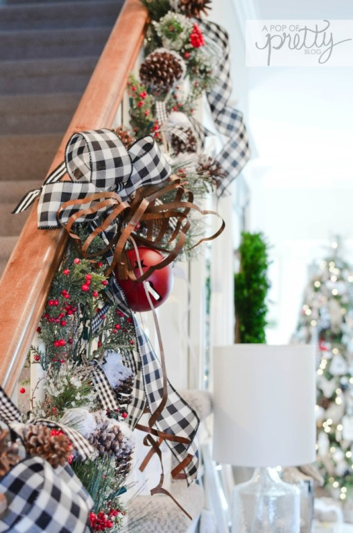 Cottage Christmas decor staircase railing with buffalo plaid