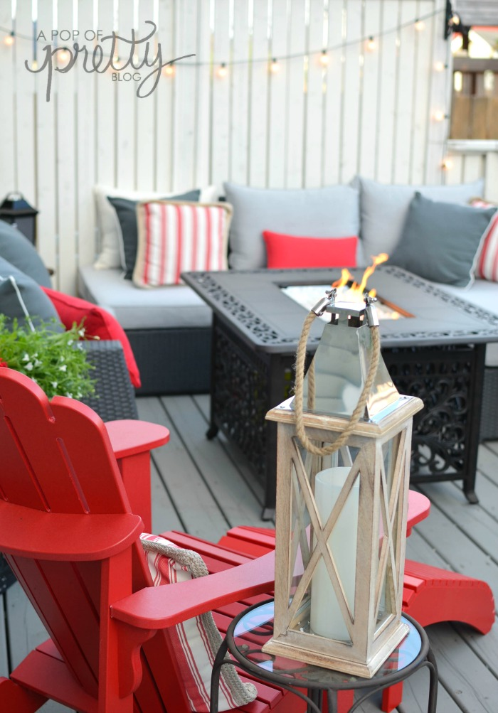 summer decorating - gray outdoor sectional
