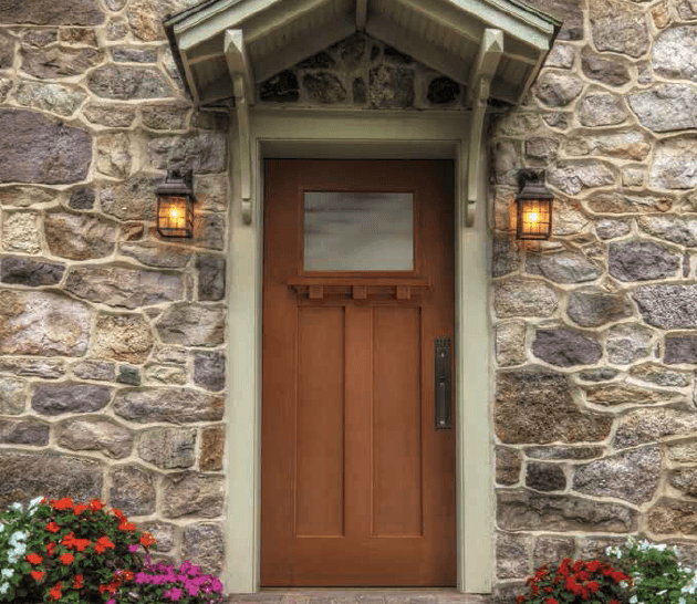 Craftsman Home Door with Dentil Shelf