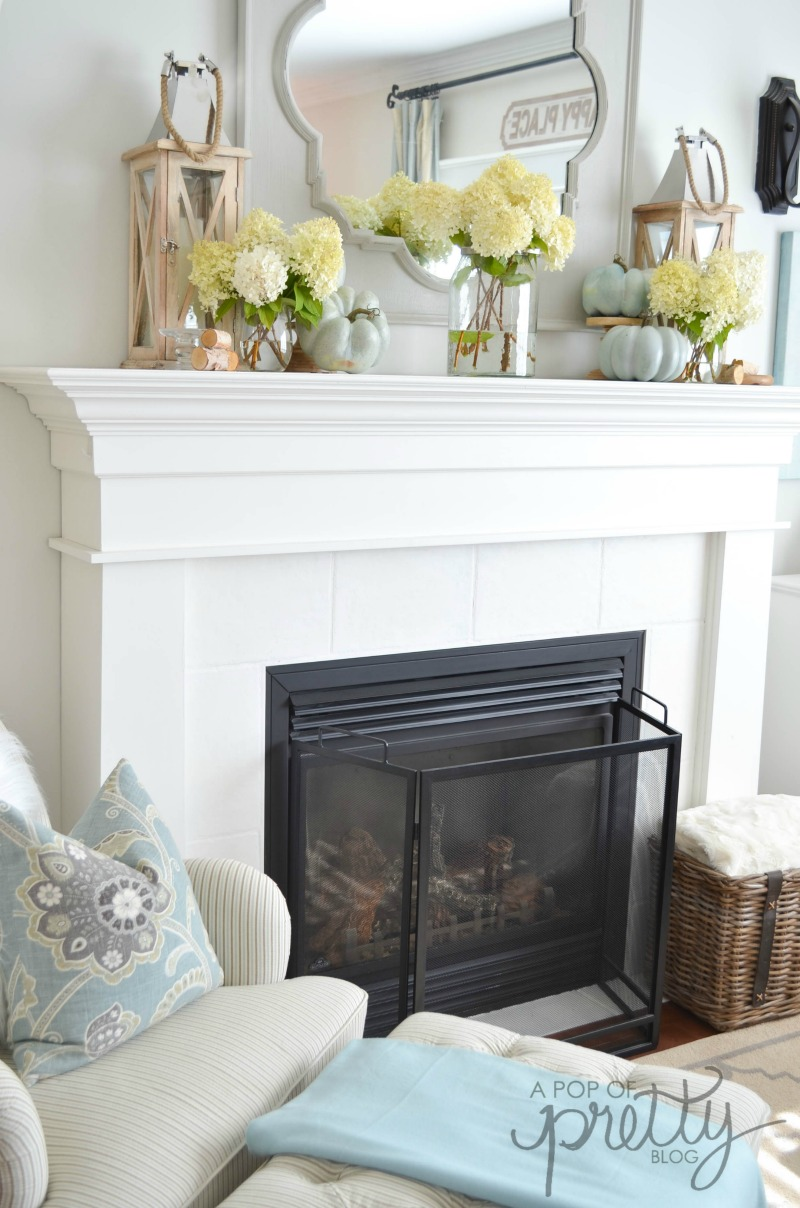 fall decor mantel hydrangeas
