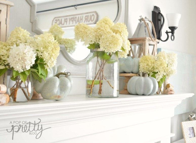fall decorating with hydrangeas mantel