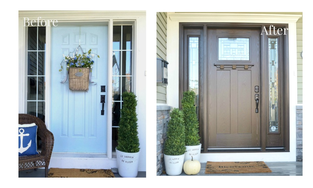 masonite craftsman front door-before-and-after  sc 1 st  A Pop of Pretty Blog & Our New Craftsman Front Door from Masonite - My Dream Door