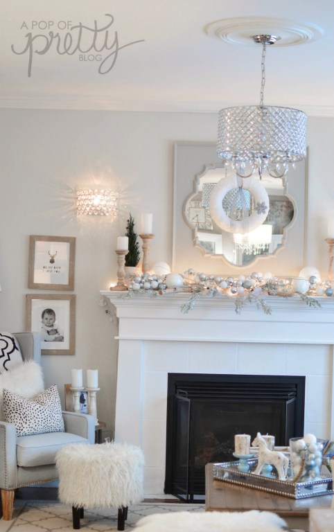 Winter Wonderland Christmas decorating theme family room