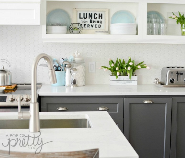 Interior Two Tone Kitchen Cabinets why two toned kitchen cabinets rock a pop of pretty blog gray and white