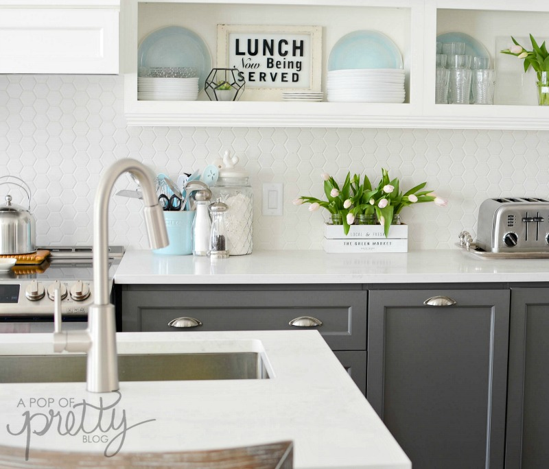 Why Two Toned Kitchen Cabinets Rock A Pop Of Pretty Blog Canadian Magnificent Two Toned Kitchen Cabinets