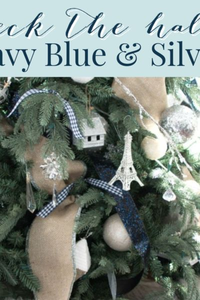 navy blue and silver Christmas decor