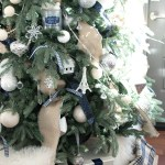 Christmas tree decorating navy and silver