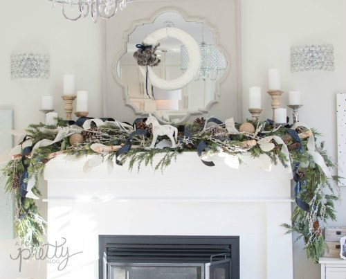 Navy Christmas Decor Fireplace Mantel
