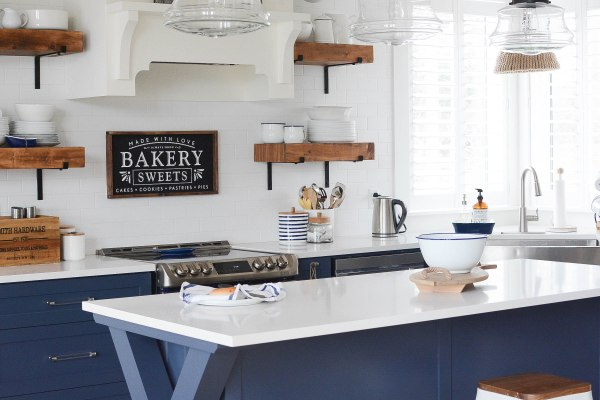 Navy and White Two Toned Kitchen Cabinets