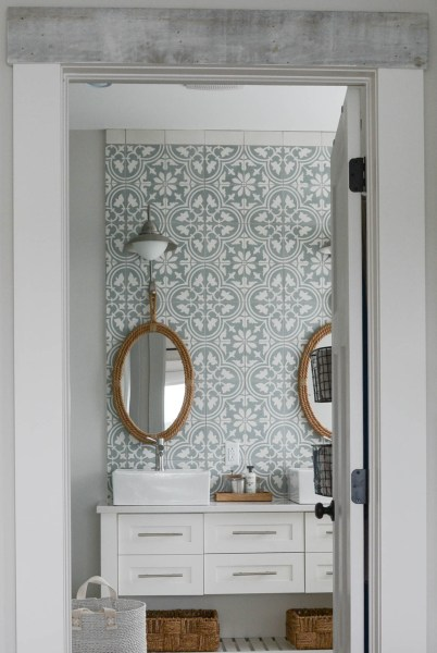 cement tile wall in bathroom